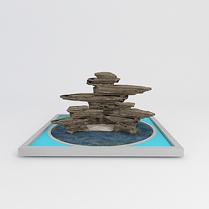 3d<font class='myIsRed'>假山</font>喷泉景观模型