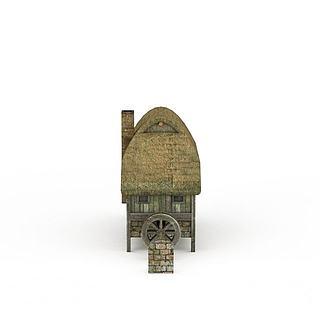 古代建筑茅草屋3d模型