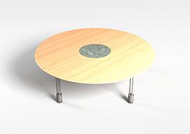 圆形木质桌子3d模型