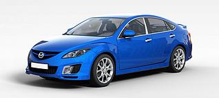 蓝色马自达汽车3d模型