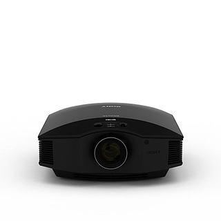 黑色小型投影仪3d模型