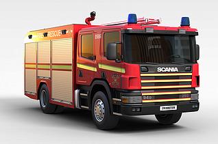 3d红色消防车模型