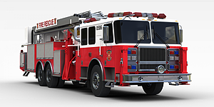 3d紅色<font class='myIsRed'>消防車</font>模型