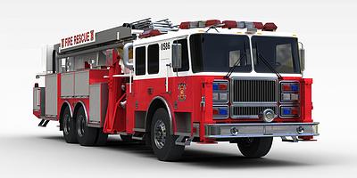 3d<font class='myIsRed'>紅色</font>消防車模型