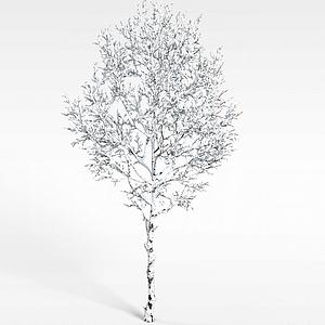 白色挂雪树木模型