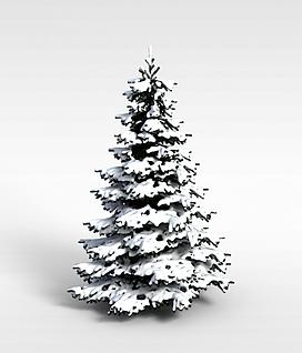 3d挂雪圣诞树模型