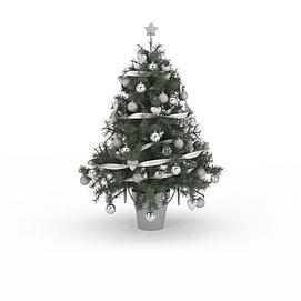 白色装饰球<font class='myIsRed'>圣诞树</font>3d模型