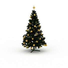 金色挂球<font class='myIsRed'>圣诞树</font>3d模型