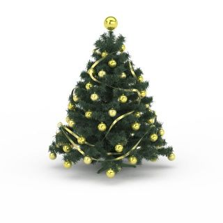 黄色球<font class='myIsRed'>圣诞</font>树3d模型