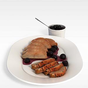 3d面包<font class='myIsRed'>水果</font>餐模型
