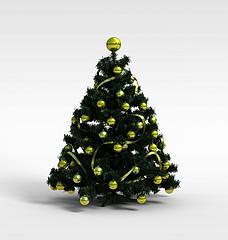 黄色球圣诞树模型3d模型