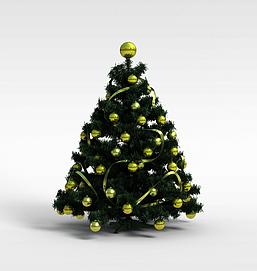 3d黄色球<font class='myIsRed'>圣诞树</font>模型