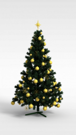 3d金色挂球<font class='myIsRed'>圣诞树</font>模型