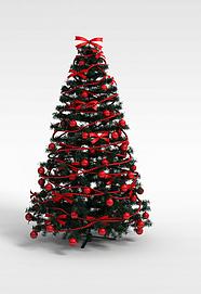 3d红色彩球<font class='myIsRed'>圣诞树</font>模型