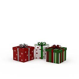 彩色圣诞礼物盒3D模型