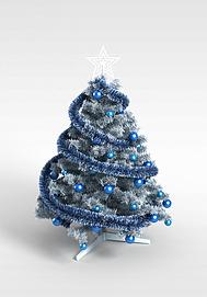 3d蓝色仿真<font class='myIsRed'>圣诞树</font>模型