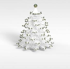 3d白色仿真<font class='myIsRed'>圣诞树</font>模型