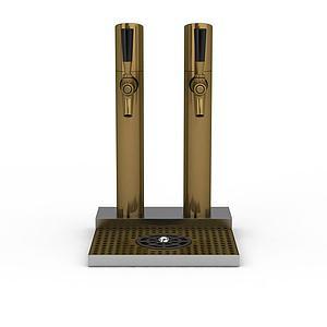 金色雙龍頭啤酒機模型3d模型