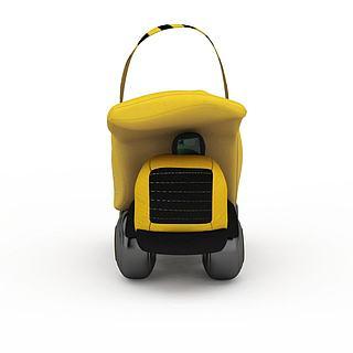 黄色玩具卡车3d模型