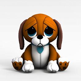 灰色小狗玩具3D模型