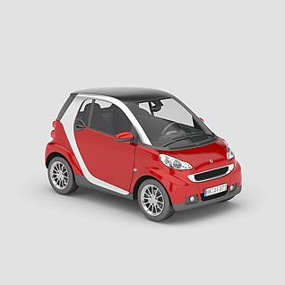 红色smart汽车3d模型