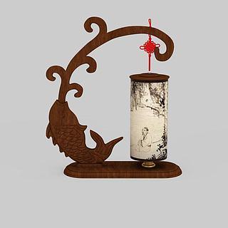 中式鱼造型装饰台灯3d模型