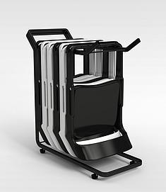 折叠椅子组合3d模型