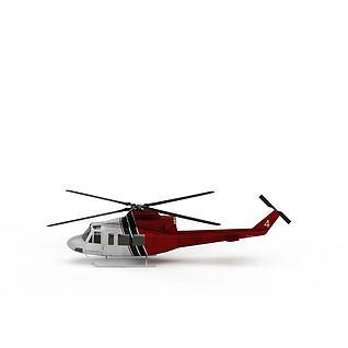 红色直升飞机3d模型