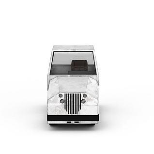 白色飞机场汽车3d模型