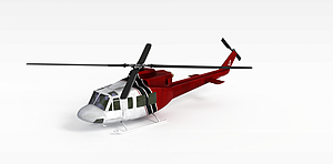 3d紅色直升飛機模型
