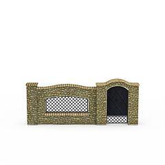 石头围墙模型3d模型