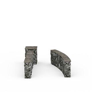 灰色<font class='myIsRed'>石头</font>墙3d模型