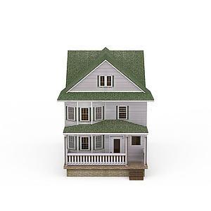 三层小洋楼模型3d模型