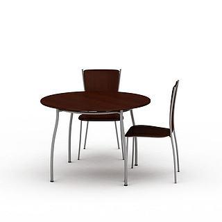 实木圆桌椅3d模型