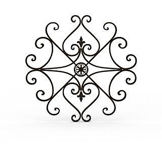铁艺雕花构件3d模型