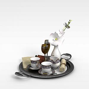 欧式餐具组合模型