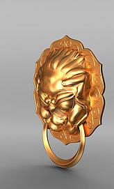 3d铜狮子<font class='myIsRed'>门把手</font>模型