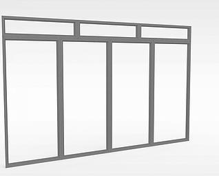 3d阳台玻璃门模型