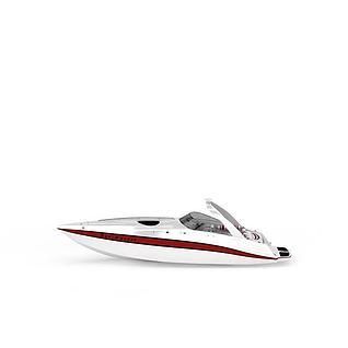 白色游艇3d模型