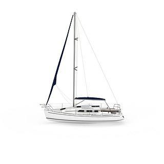 豪华白色游艇3d模型