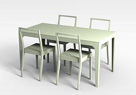 浅绿桌椅组合3d模型