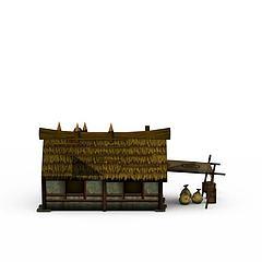 茅草房模型3d模型