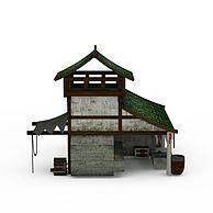 古代二层房3D模型3d模型