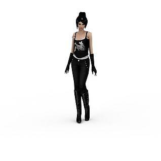 一个时尚女人模型3d模型