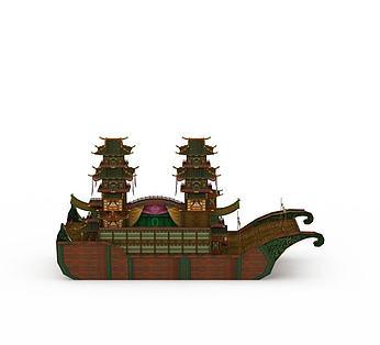 豪华复古龙船