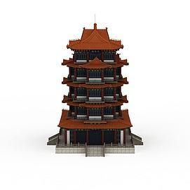 古代高层塔楼3d模型