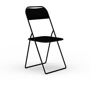 黑色簡約折疊椅模型