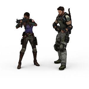 3d外国特种兵模型