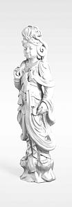 3d观音石像模型