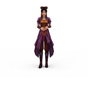 3d紫色古裝女性模型